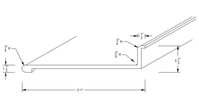 Countertop Length : Postform Counter Profile-Bullnose