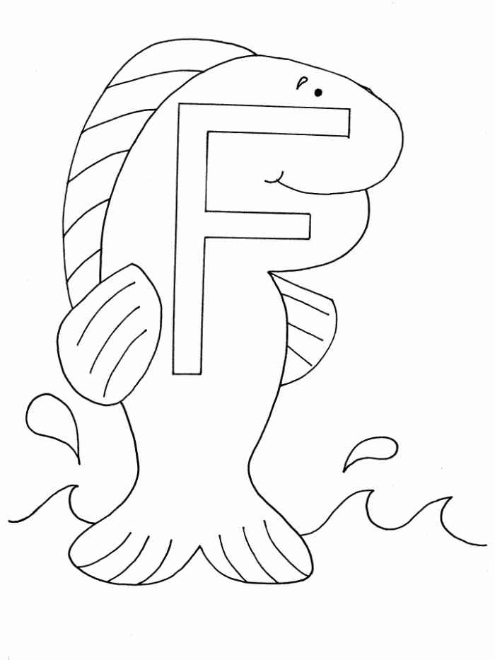 Alphabet Coloring Sheet Janice S Daycare F Is For Fish Coloring Page